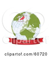 Royalty Free RF Clipart Illustration Of A Red Greenland Banner Along The Bottom Of A Grid Globe