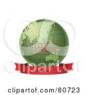 Royalty Free RF Clipart Illustration Of A Red Indonesia Banner Along The Bottom Of A Green Grid Globe