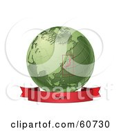 Royalty Free RF Clipart Illustration Of A Red Japan Banner Along The Bottom Of A Green Grid Globe