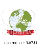 Royalty Free RF Clipart Illustration Of A Red Estonia Banner Along The Bottom Of A Grid Globe by Michael Schmeling