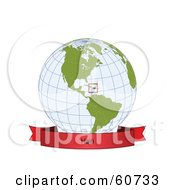 Royalty Free RF Clipart Illustration Of A Red Haiti Banner Along The Bottom Of A Grid Globe by Michael Schmeling