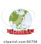 Royalty Free RF Clipart Illustration Of A Red Japan Banner Along The Bottom Of A Grid Globe by Michael Schmeling