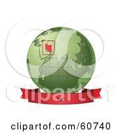 Royalty Free RF Clipart Illustration Of A Red Iran Banner Along The Bottom Of A Green Grid Globe