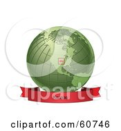 Royalty Free RF Clipart Illustration Of A Red Kansas Banner Along The Bottom Of A Green Grid Globe by Michael Schmeling