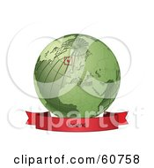 Royalty Free RF Clipart Illustration Of A Red Iceland Banner Along The Bottom Of A Green Grid Globe