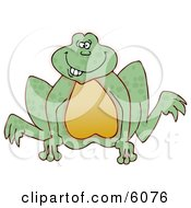 Goofy Looking Frog Jumping Clipart Picture
