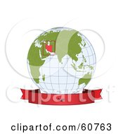 Royalty Free RF Clipart Illustration Of A Red Iran Banner Along The Bottom Of A Grid Globe