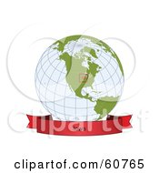 Royalty Free RF Clipart Illustration Of A Red Iowa Banner Along The Bottom Of A Grid Globe