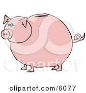 Pink Piggy Bank With Blue Eyes Clipart Picture