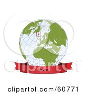 Royalty Free RF Clipart Illustration Of A Red Iceland Banner Along The Bottom Of A Grid Globe