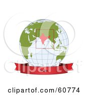 Red India Banner Along The Bottom Of A Grid Globe