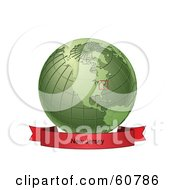 Royalty Free RF Clipart Illustration Of A Red New Jersey Banner Along The Bottom Of A Green Grid Globe by Michael Schmeling