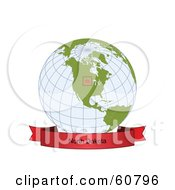 Royalty Free RF Clipart Illustration Of A Red North Dakota Banner Along The Bottom Of A Grid Globe