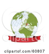 Royalty Free RF Clipart Illustration Of A Red Romania Banner Along The Bottom Of A Grid Globe