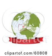 Royalty Free RF Clipart Illustration Of A Red Spain Banner Along The Bottom Of A Grid Globe