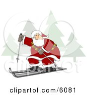 Santa Claus Snow Skiing Clipart Picture