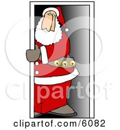 Santa Claus Standing In A Doorway Clipart Picture by Dennis Cox