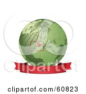 Royalty Free RF Clipart Illustration Of A Red Spain Banner Along The Bottom Of A Green Grid Globe