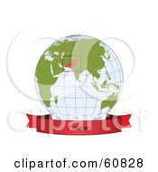 Royalty Free RF Clipart Illustration Of A Red Pakistan Banner Along The Bottom Of A Grid Globe