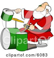 Santa Claus Playing With A New Drum Set
