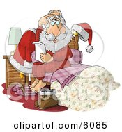 Overwhelmed Santa Claus Sitting On Bed With Letter