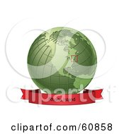 Royalty Free RF Clipart Illustration Of A Red Rhode Island Banner Along The Bottom Of A Green Grid Globe by Michael Schmeling