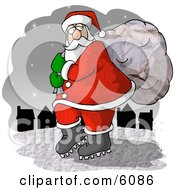 Santa Claus Carrying Toy Bag To Town Clipart Picture
