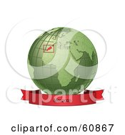 Royalty Free RF Clipart Illustration Of A Red Morocco Banner Along The Bottom Of A Green Grid Globe