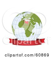 Royalty Free RF Clipart Illustration Of A Red Libya Banner Along The Bottom Of A Grid Globe by Michael Schmeling