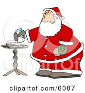 Santa Claus With Fresh Milk And Cookies