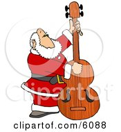 Santa Claus Playing Christmas Music On A Double Bass