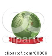 Royalty Free RF Clipart Illustration Of A Red Maine Banner Along The Bottom Of A Green Grid Globe by Michael Schmeling
