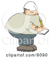 Male Worker Writing On Notepad