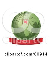Royalty Free RF Clipart Illustration Of A Red Libya Banner Along The Bottom Of A Green Grid Globe by Michael Schmeling