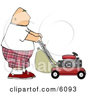 Fat Bald Man Mowing Lawn Clipart Picture