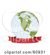 Royalty Free RF Clipart Illustration Of A Red Mississippi Banner Along The Bottom Of A Grid Globe