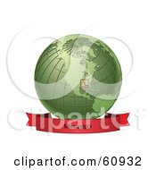 Royalty Free RF Clipart Illustration Of A Red Mississippi Banner Along The Bottom Of A Green Grid Globe