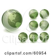 Royalty Free RF Clipart Illustration Of A Digital Collage Of Green Grid Globes Featuring Different Continents by Michael Schmeling