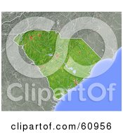 Royalty Free RF Clipart Illustration Of A Shaded Relief Map Of The State Of South Carolina by Michael Schmeling