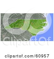 Royalty Free RF Clipart Illustration Of A Shaded Relief Map Of The State Of North Carolina