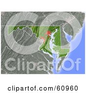 Royalty Free RF Clipart Illustration Of A Shaded Relief Map Of The State Of Maryland by Michael Schmeling