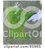 Royalty Free RF Clipart Illustration Of A Shaded Relief Map Of The State Of Minnesota