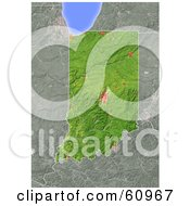 Royalty Free RF Clipart Illustration Of A Shaded Relief Map Of The State Of Indiana