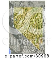 Royalty Free RF Clipart Illustration Of A Shaded Relief Map Of The State Of Nevada by Michael Schmeling