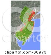 Royalty Free RF Clipart Illustration Of A Shaded Relief Map Of The State Of New Jersey by Michael Schmeling