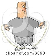 Overweight Bald Man Jump Roping Clipart Picture