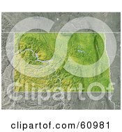 Royalty Free RF Clipart Illustration Of A Shaded Relief Map Of The State Of North Dakota