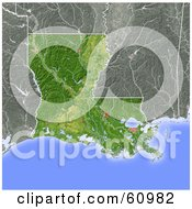 Royalty Free RF Clipart Illustration Of A Shaded Relief Map Of The State Of Louisiana