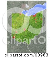 Royalty Free RF Clipart Illustration Of A Shaded Relief Map Of The State Of Ohio by Michael Schmeling