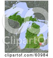 Royalty Free RF Clipart Illustration Of A Shaded Relief Map Of The State Of Michigan by Michael Schmeling #COLLC60984-0128